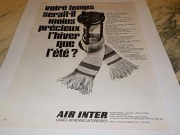 ANCIENNE PUBLICITE HIVER ETE AERIENNE AIR INTER 1969 - Publicités