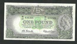 AUSTRALIA 1 POUND 1960 COOMBS-WILSON PREFIX HK/15 PICK#34a VF+ BANKNOTE - Emissions Gouvernementales Pré-décimales 1913-1965