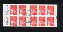 "CARNET N°3419-C1 YVERT "" MARIANNE DU 14 JUILLET AVEC RF "" - CACHET 1ER JOUR PARIS DU 1/08/2001 - SIGNE LUQUET ET JUMELET - Definitives"