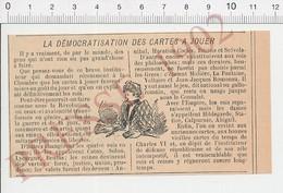 Presse 1902 Ancien Jeu De Cartes Histoire Des Cartes à Jouer PF223A - Vieux Papiers