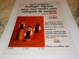 ANCIENNE PUBLICITE MONTRE  HOBI 1969 - Jewels & Clocks