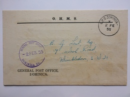 DOMINICA - 1955 OHMS Postcard With GPO Dominica Postmark And Cachet Sent To London England - Dominica (...-1978)