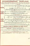 CARTE STENOGRAPHIE DUPLOYE  Recto Et Verso  Trés Belle Illustration  Enseignement Méthode Sténographie - Autres