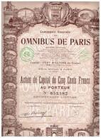 Ancienne Action - Compagnie Générale Des Omnibus De Paris Sté Anonyme  -  Titre De 1920 N°053482 Déco - Transports
