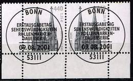 Bund 2001, Michel# 2206 O Eckrand Mit ESST Bonn Waagerechtes Paar - BRD