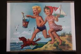 Dachshund - Dachshound - Teckel - Dackel - Bassotto - Marcel Marlier - Little Girl -  Holland  Postcard - Dogs