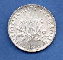 Semeuse-   1 Franc 1920  -  état  SUP - H. 1 Franc