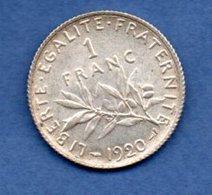 Semeuse-   1 Franc 1920  -  état  SUP - Francia