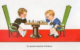 Echecs. CPA. Dessin De John Wills.  Enfants Qui Jouent Aux échecs.  Les Grand Tournoi D'échecs. - Schaken