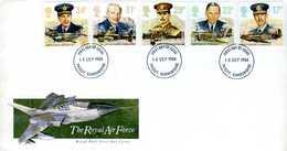 Enveloppe Philatélique 1er Jour Royal Air Force 1986 (livré Avec Sa Carte Postale) - Militaria