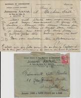BEZIERS JOSEPH ARNAL MATERIAUX DE CONSTRUCTION CHAUX PLATRE POUR LA VIGNE  ANNEE 1934 LETTRE ET ENVELOPPE ENTETE - Francia