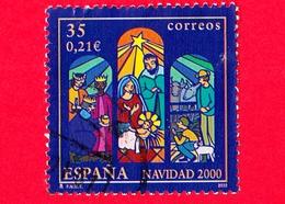 SPAGNA - Usato - 2000 - Natale - Christma - 'Adoration Of Jesus' - 35 - 0.21 - 1931-Oggi: 2. Rep. - ... Juan Carlos I