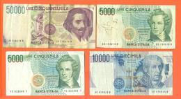Lot De 4 Billets De La Banque D'italie 70 000 Lires - Coins & Banknotes