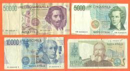 Lot De 4 Billets De La Banque D'italie 67 000 Lires - Coins & Banknotes