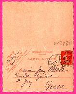Carte Lettre 10 C Semeuse - Entier Postal - Oblit. Grasse - Pour Jean Ossola Conseiller Général à St Jean - 1913 - Entiers Postaux