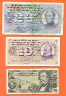 Lot De 2 Billets De La Banque De Suisse 30 Françs + 1 Billet 20 Schillings Autriche - Monnaies & Billets