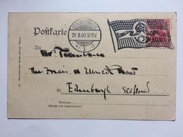 GERMANY - 1903 Postcard - Braunschweig To Edinburgh Scotland - Fancy Flag Cancel - Crown And Posthorn - Cartas