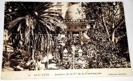 """Antigua Postal - Alicante - Jardines De La Plaza De La Constitución / Ediciones Marimón, Nº8 / Publicidad """"EL AVIÓN"""" - Alicante"""