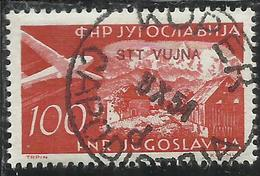 TRIESTE B 1954 POSTA AEREA AIR MAIL ESPERANTO CONGRESS YUGOSLAVIA SOPRASTAMPATO JUGOSLAVIA 100d USATO USED OBLITERE' - Poste Aérienne