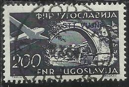 TRIESTE B 1954 POSTA AEREA AIR MAIL ESPERANTO CONGRESS YUGOSLAVIA SOPRASTAMPATO JUGOSLAVIA 200d USATO USED OBLITERE' - Poste Aérienne