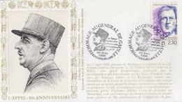Enveloppe   FRANCE   Hommage  Au  Général  DE  GAULLE     COQUELLES   1990 - De Gaulle (Général)