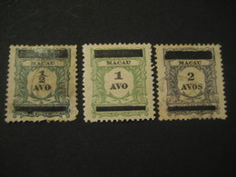 Tax O.p. 2 Line MACAU 1910 Yvert 141/3 (3 Stamp Set (2 Cancel) Cat Year 2008: 33,50 Eur) Stamp Macao Portugal China Area - Macao