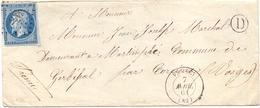France Lettre Obl P C  3457 Vagney Vosges Boite Rural D Pour Gerbepal Corcieux - Postmark Collection (Covers)