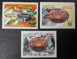 KUWAIT KOWEIT 2001 FULL SET  PALESTINE PALESTINIAN INTIFADA AQSA JERUSALEM MOSK MOSQUEE CHAR RELIGIONS BUILDINGS MNH - Koweït