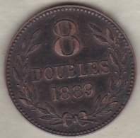 Guernesey 8 Doubles 1889 H. Bronze . KM# 7 - Guernesey
