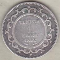 PROTECTORAT FRANCAIS. 1 FRANC 1892 (AH 1309) Paris ALI BEY  En Argent - Tunisie