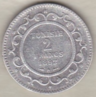 PROTECTORAT FRANCAIS. 2 FRANCS 1892 (AH 1309) Paris ALI BEY  En Argent - Tunisia