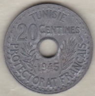 PROTECTORAT FRANCAIS .20 CENTIMES 1945. ZINC . Sup / XF **** - Tunisie