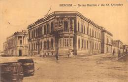 "0458 ""SIRACUSA - PIAZZA MAZZINI E VIA XX SETTEMBRE"" ANIMATA.  CART  SPED 1916 - Siracusa"