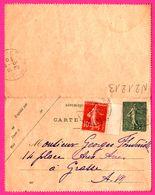 Carte Lettre 15 C Semeuse Taxée 10 C Bande - Entier Postal - Oblit. Grasse - 1920 - Biglietto Postale