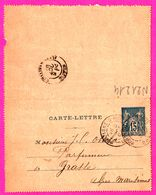 Carte Lettre 15 C Sage Bleu - Entier Postal - Oblit. Mortagne Sur Huine ( Orne ) Vers Grasse - OSSOLA Parfumeur - 1893 - Biglietto Postale
