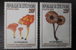 IVORY COAST 2005 YT 1241/2 FULL SET MUSHROOMS MUSHROOM CHAMPIGNON CHAMPIGNONS MNH - Côte D'Ivoire (1960-...)