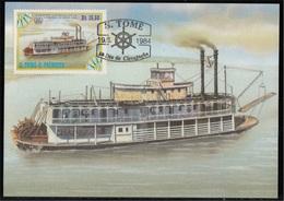 756b S. Tomé E Principe 1984 Navi A Vapore Maximum Card  Chaperone (1884) Steamers Maxi - Sao Tomé E Principe