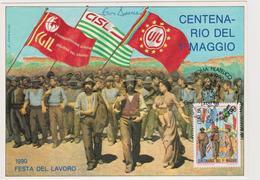 1990 Cartolina Pubblicitaria Celebrativa Del Centenario Della Festa Del Lavoro - Sindacati
