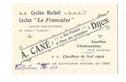 DIJON (21) Carte De Visite Cycles Rochet Cycles La Française A CANE - Dijon
