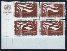 United Nations 1957 Set Of Stamps To Celebrate Human Rights Day In Corner Blocks Of Four. - New York – UN Headquarters