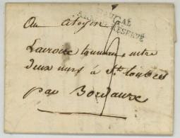 Bau Gal ARMEE DE RESERVE / LàC 1800 De Wil (Suisse) à St-Loubès . Lacroix Aide De Camp Du Général De Laboissière - Marcofilia (sobres)