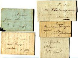 Precurseurs Lot De 5 De THUIN, ROULERS,MONS(2),SENEFFE Envoyés Par Messager 1827-29-40-44 Et 1846 - 1830-1849 (Belgica Independiente)