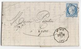 Lettre Cérès N° 60 De St Dié Des Vosges Vers Lyon 14/04/1874 TAD Convoyeur Station St Dié - 1849-1876: Classic Period