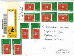 TURKEY Registered Cover Sent To Greece 30 Stamps COVER USED - 1921-... République