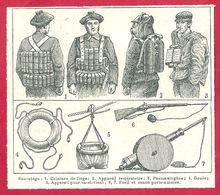 Sauvetage En Mer, Ceinture De Liège, Appareil Respiratoire, Pneumatogène, Bouée, Canon Porte Amarre, Larousse 1908 - Vieux Papiers