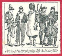Sapeurs, Sapeur, Des Gardes Françaises (1786), Du Génie (1860), D'infanterie (1864), Du Génie (1870)... Larousse 1908 - Vieux Papiers