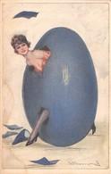 """0489 """"FIGURA FEMMINILE-UOVO"""" FIRMATA BOMPARD LUIGI. 1879/1953. CART  SPED 1924 - Bompard, S."""