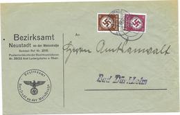 DR Dienst Brief Bezirksamt Neustadt A.d. Weinstraße 10.10.38 Mif. Mi.137,139 - Allemagne