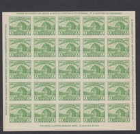 Sc#730, 1c Fort Dearborn American Philatelic Society Souvenir Sheet Of 25 1933 Issue - Unused Stamps