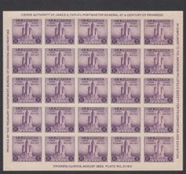 Sc#731, 3c Chicago Federal Building American Philatelic Society Souvenir Sheet Of 25 1933 Issue - Ongebruikt